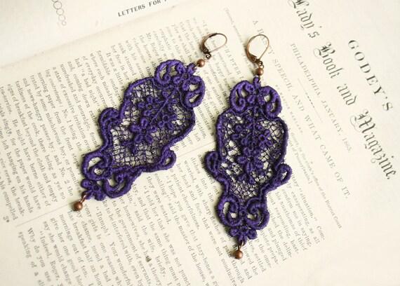 lace earrings -MEISHKA- purple