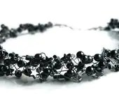 Twilight Black Wire Crochet Necklace with Silver Star and Hemite Beads - GloryGift