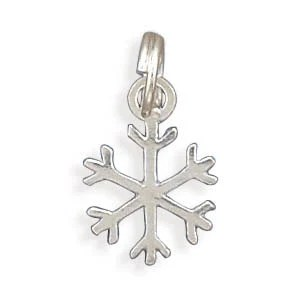 Snowflake Snow Flake Charm Pendant Sterling Silver - SilverCastleJewelry