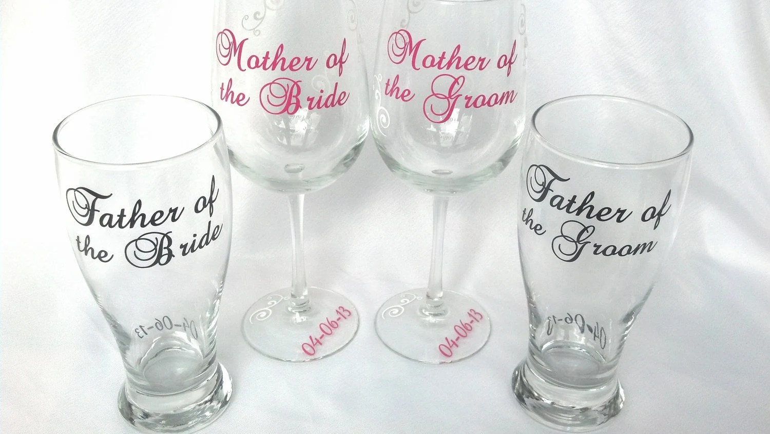 Wedding parents of the bride and groom personalized glasses.  1 glass for Mother and Father of the Bride and Groom gift.