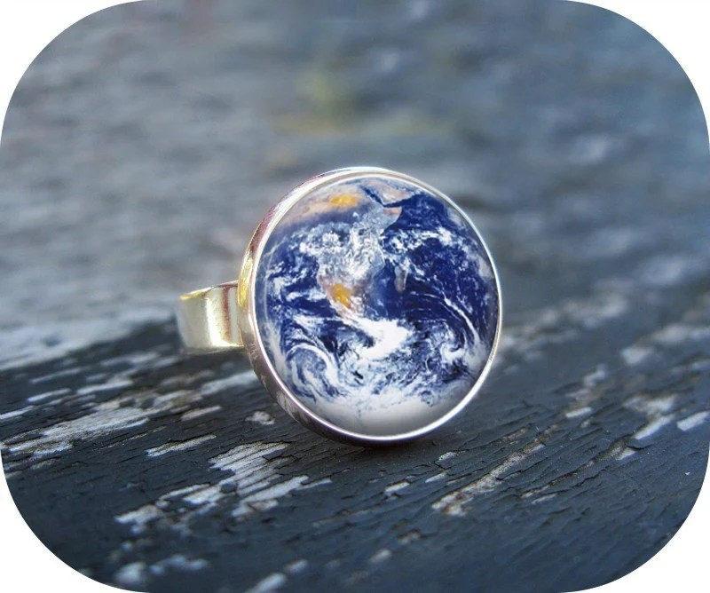 Earth Ring Silver Glass Art Ring Picture Ring Art Ring Handcrafted Jewelry by Lizabettas - Lizabettas