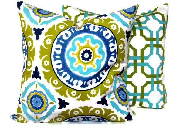 Decorative pillow cover - Accent Pillow - Throw Pillow - Waverly Pattern - Azure Blue, Gold-Chartreuse - MissEvaDivaDesigns