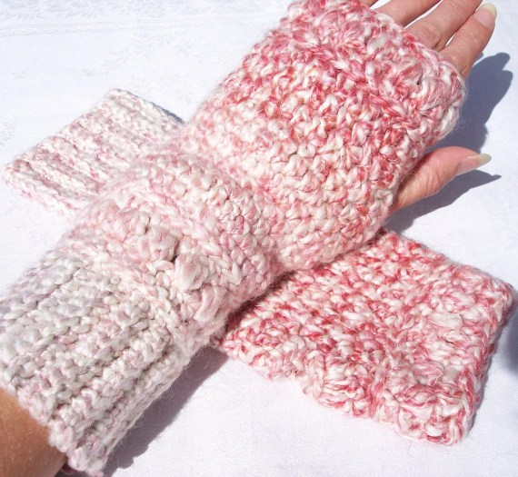 FingerLess Gloves in Candy Cane, By Artistic NeedleWork - ArtisticNeedleWork