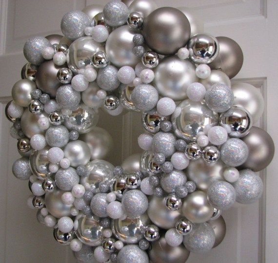 "15"" Elegant Christmas Silver and White Glass Ball Wreath - CraigCustomTreasures"