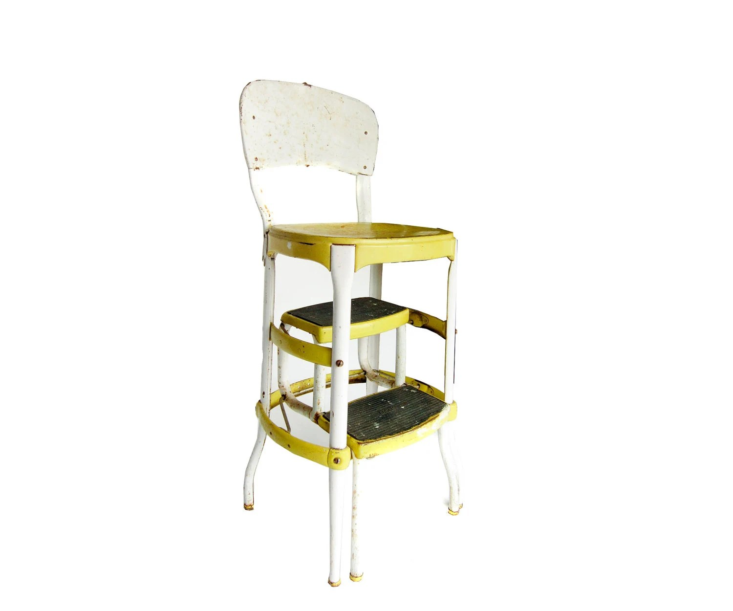 Vintage Yellow and White Cosco Step Stool Ladder Chair - pastoria