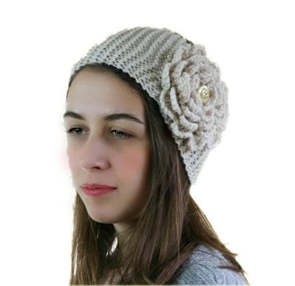 Creme Knit Headband with Flower and Golden Button - Ear Warmer - Neck Warmer  - Fall Winter Fashion - Gift For Her - Women Teens Accessories - ForYouDesign