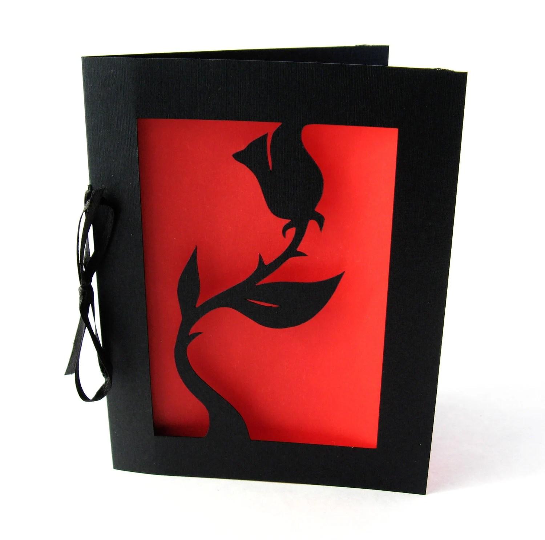 Black Rose Valentine Cut Paper Silhouette Greeting card Black & Red - arwendesigns