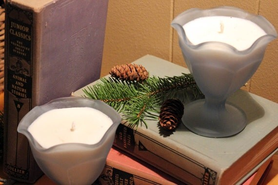 Set of Two Soy Candles in Frosted Blue Fruit Cups, Custom Holiday Scents, part of HOLIDAY COLLECTION - peripetihome