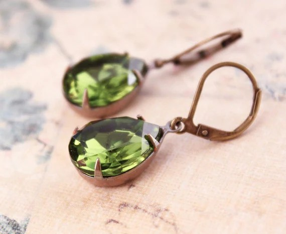 Green Glass Earrings, Dangle Earrings, Antique Gold Brass, Forest Green Drop, Olivine Vintage Teardrop, Modern Accessories, Lever back