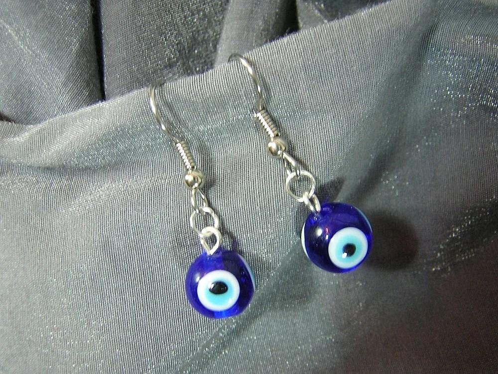 Blue Eyes Single Bead Dangle Earrings - Handmade by Rewondered D225E-55509 - $5.95