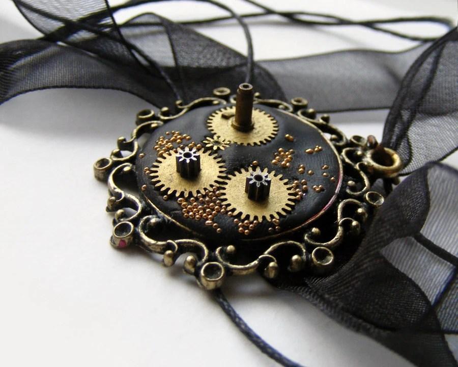Black steampunk watch parts necklace in victorian frame, ooak polymer clay necklace - kapelusznik