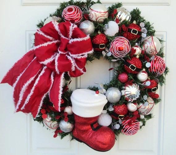 Santa Claus Boot Christmas Wreath Red Silver - ViennaSparkleWreaths