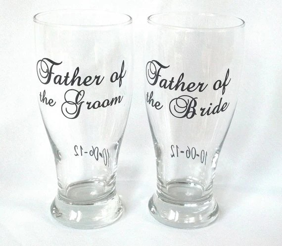 2 Father of the Bride and Groom glasses.  Wedding parents of the bride and groom personalized glasses. Parents gift
