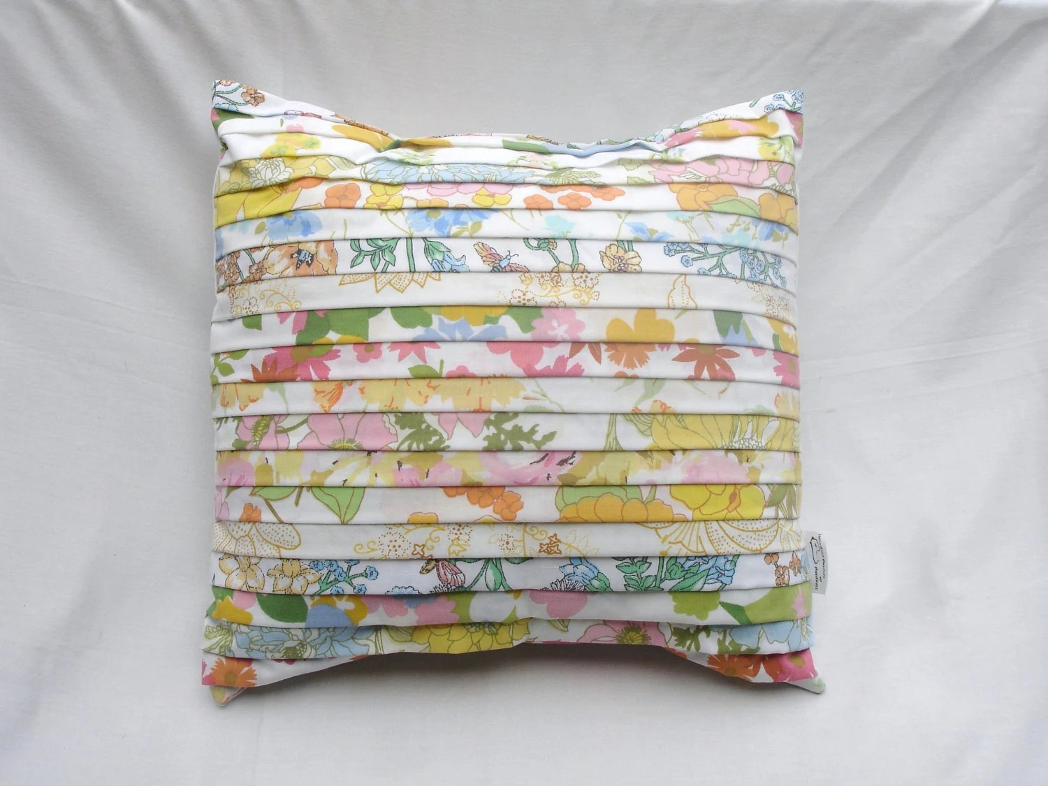 """Spring, Shabby Chic, 16"""" x 16"""" Pillow cover, Upcycled, made from Vintage Sheets - SleepingOrSewing"""