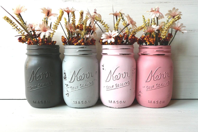 Preppy Pink - Dorm or Office Decor - Painted Mason Jars - Vases - BeachBlues