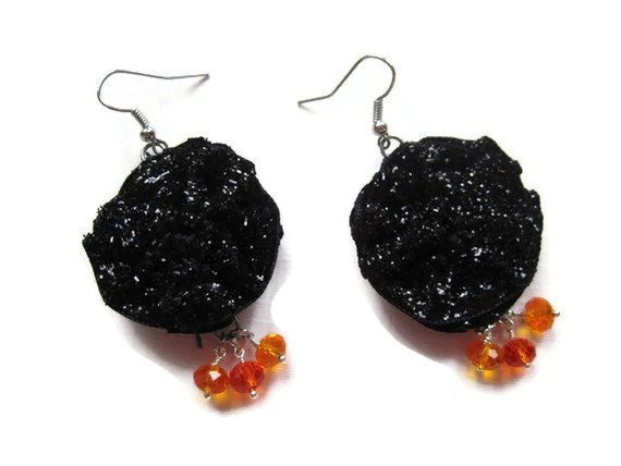 Halloween Black Sparkle Earrings - SparkleMJewelry