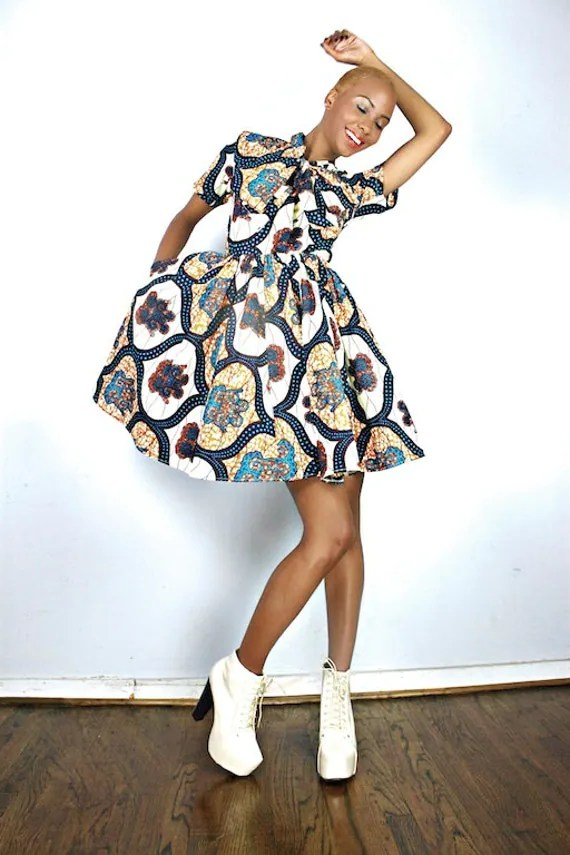 The Minnie Bell- African Print  100% Holland Wax Cotton Dress