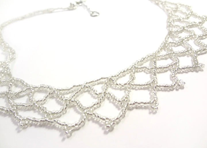 Beaded Crystal Netted Lace Necklace - Bridal Wedding Jewelry - MegansBeadedDesigns
