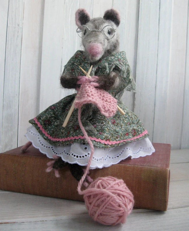 Possum/Opossum Grandma handmade doll - grey needle felted wool - knitting pink yarn