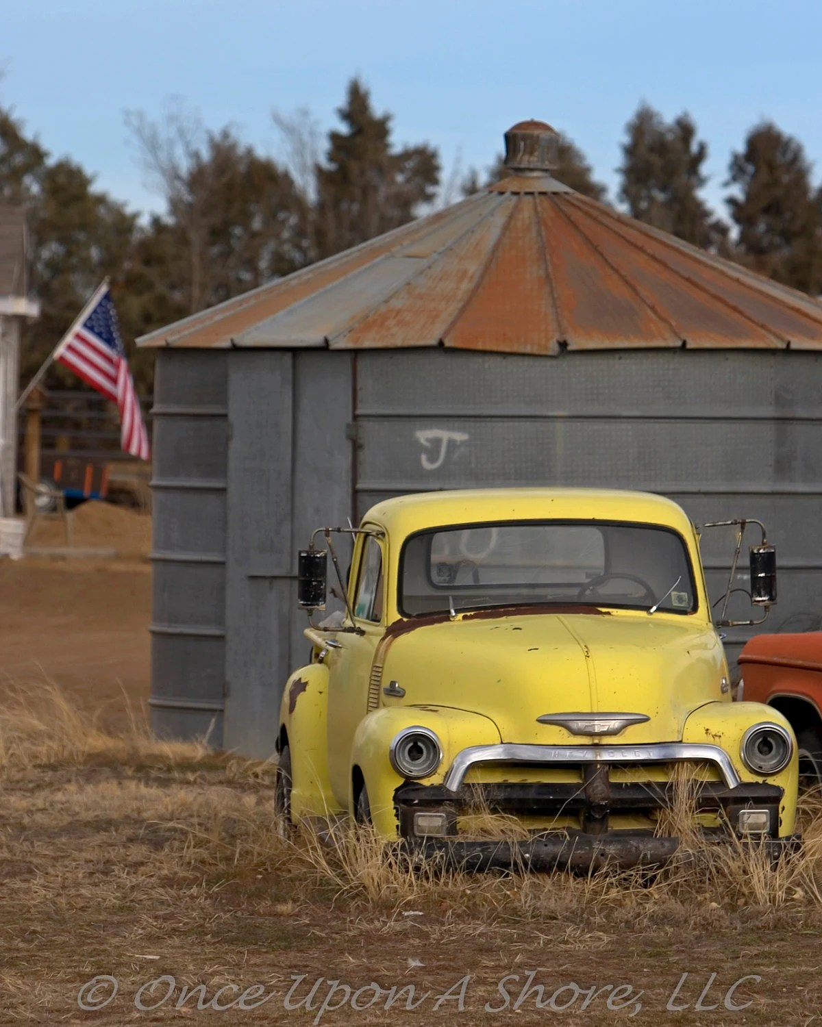 Heartland Americana (8x10 print) color print of a classic Chevy Trick with the US flag in the background - OnceUponAShore