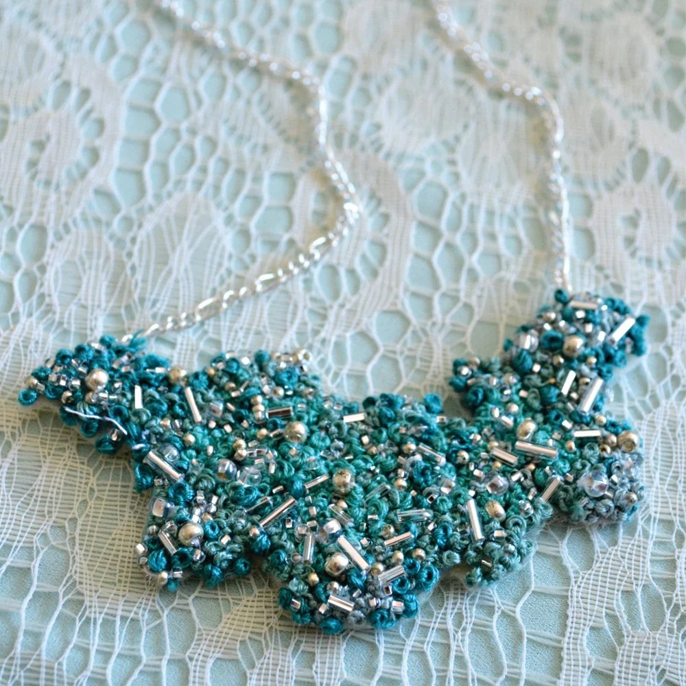 Breathtaking Mint Green Hand Embroidered/ Beaded Necklace - Kelly