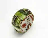 Wide bangle with colorful black and green stripes print coated resin. - irisdesign1