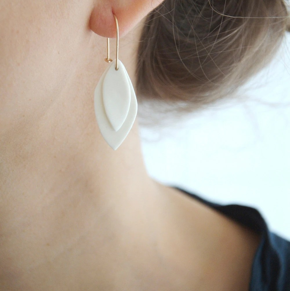 A n i e - Ceramic jewelry - Leaves porcelain earrings & goldfilled earwires - Canopee Collection - byloumi