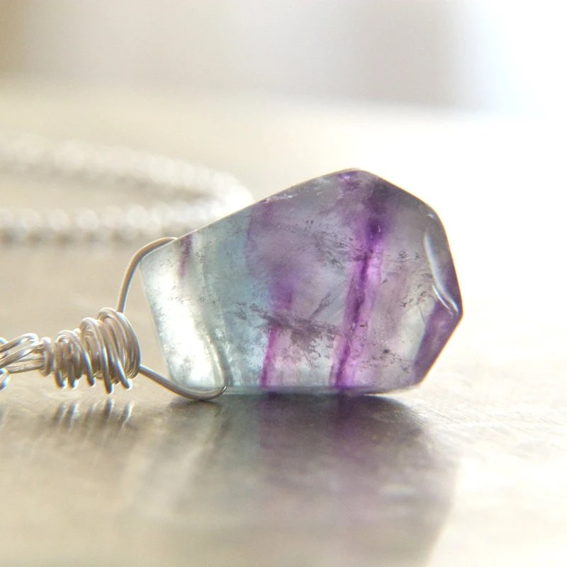 Large Blue Purple Rainbow Fluorite Wire Wrapped Pendant Necklace - Lightborn