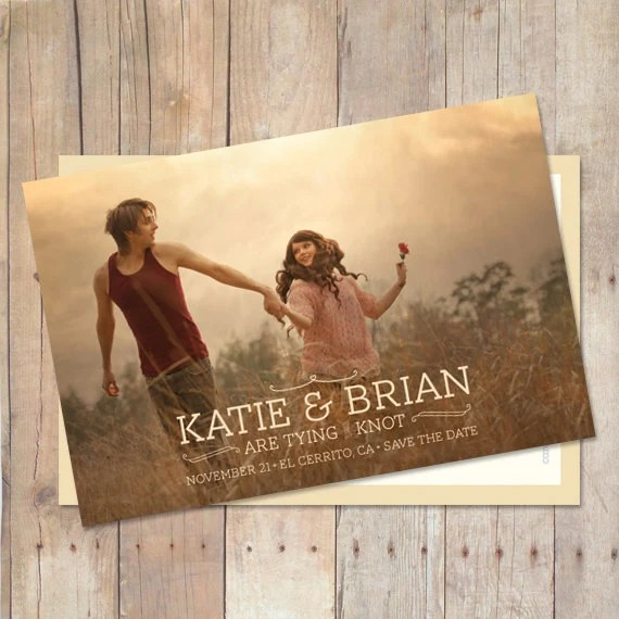 Wedding Save The Date, Save The Date Postcard, Save The Date Card, Rustic Save The Date - Autumn - cardcandydotcom
