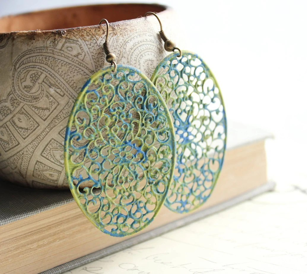 Filigree Earrings, Teal Blue, Lime Green, Rustic Patina Jewelry, Long Oval Dangle, Summer Jewelry, Drop Earrings - apocketofposies