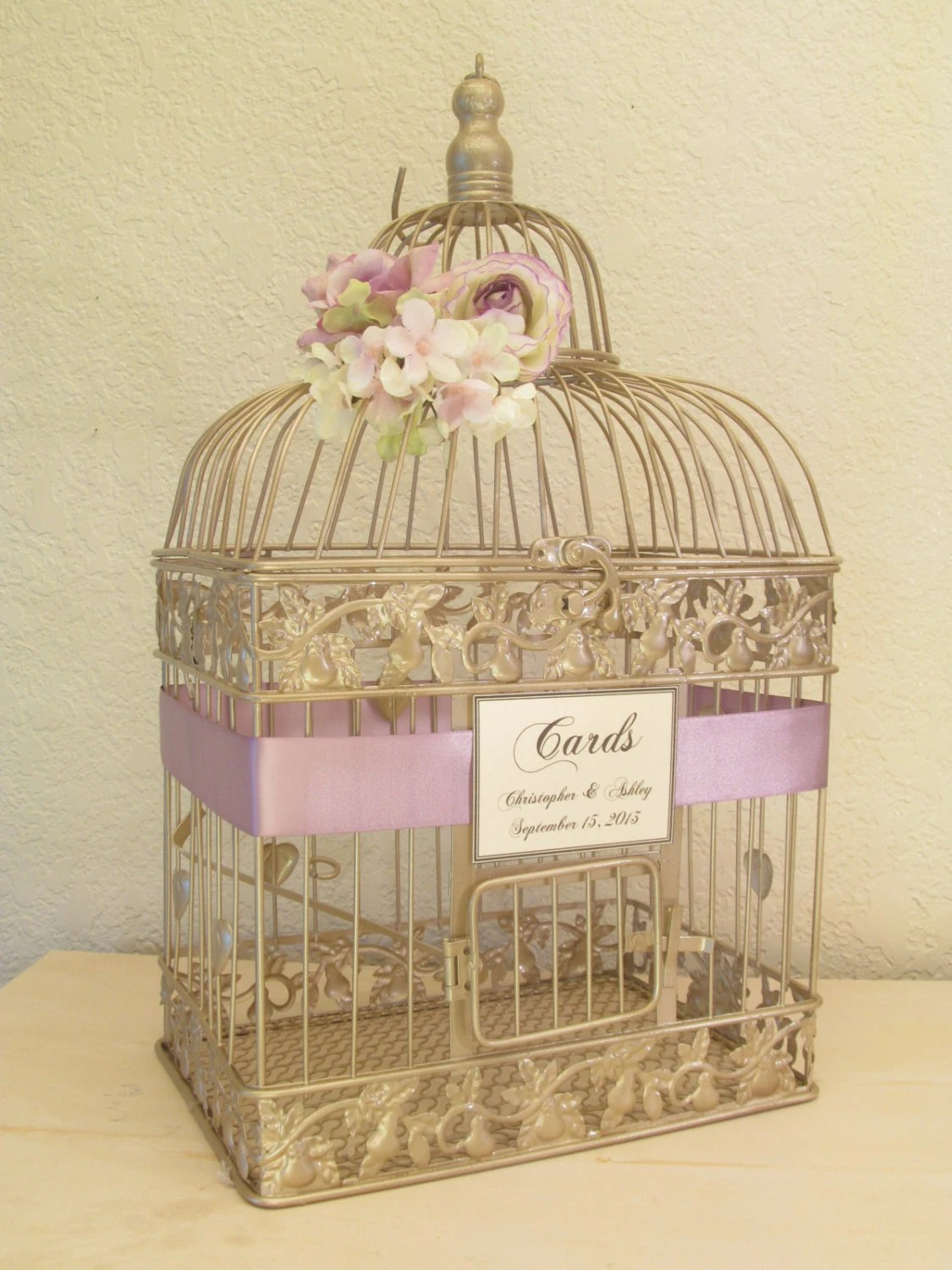 On Sale Wedding Card Box / Champagne Birdcage / Lavender / Bird Cage Wedding Card Holder / Elegant / Gold