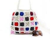 Crochet handbag, Midi box-bag, Multicolor gypsy style, Multicolor tote, Square pattern, Crochet granny square bag - aynikki