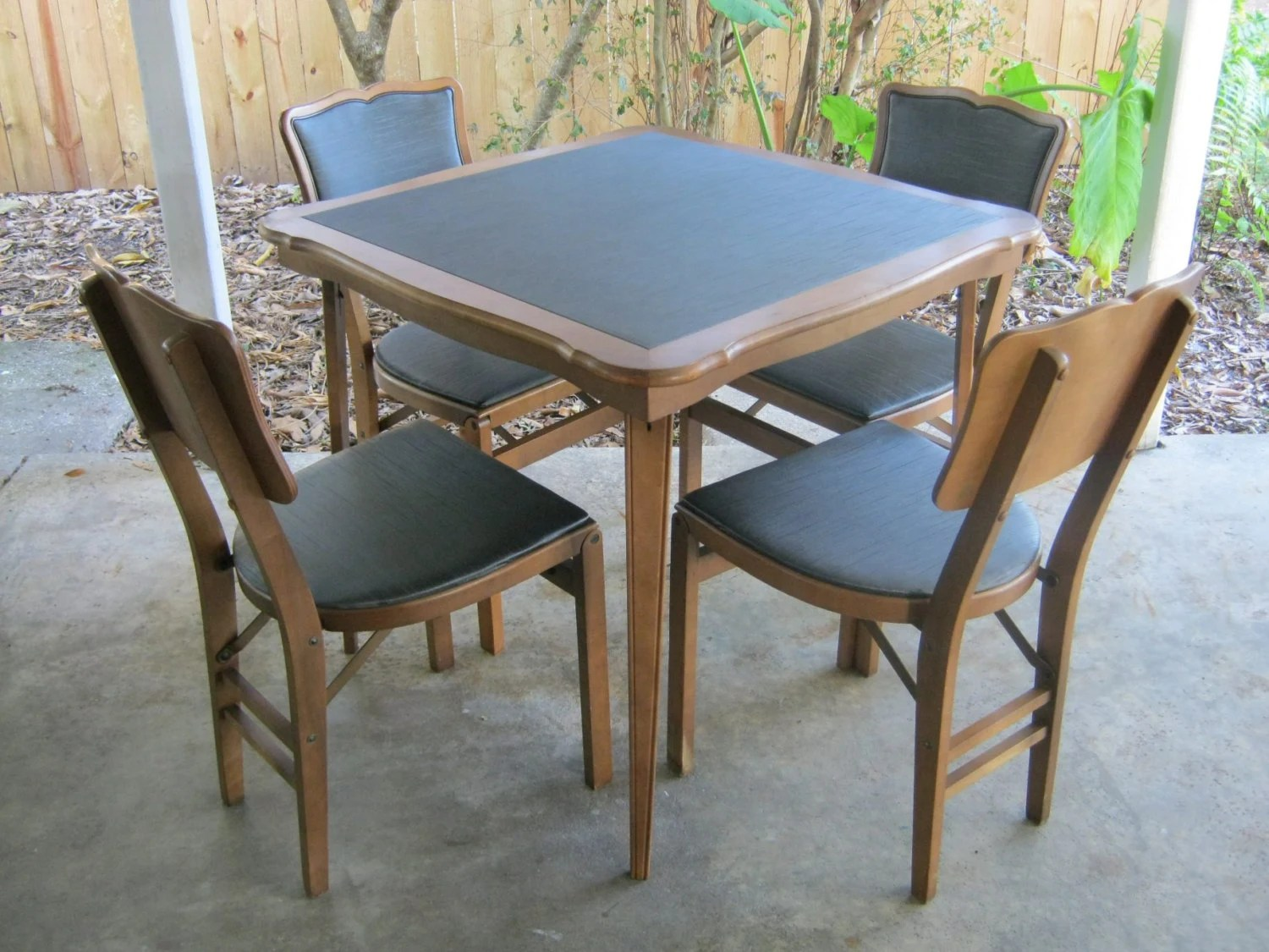 Folding Card Table And Chairs Reserved For Catherine Four Folding By Jaybirdsvintageshop