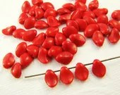 Vintage Cherry Red Czech Glass Petal Beads Drops 8mm (15) - alyssabethsvintage