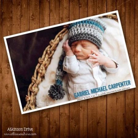 Printable Fresh & Modern Photo Birth Announcement