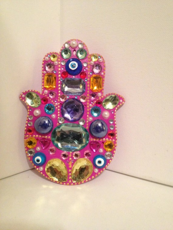 Pinks of gold hanging hamsa - LiatDesign