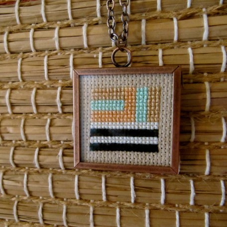 Palm Springs Framed CrossStitched Necklace by DoRiMeJewels