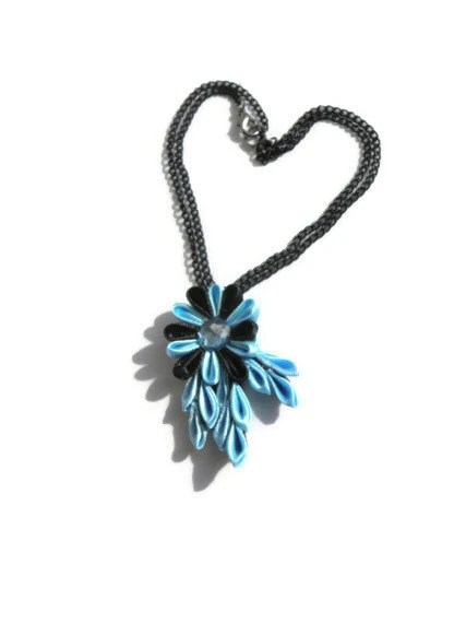 Tsumami Flower Pendant with black chain/ black Blue/ Fabric Jewellery / fashion 2013/ gift for her - BestMaria