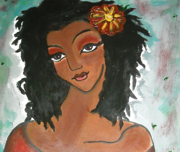 Cole-gates Original Modern African American Abstract Sister Locks Painting Art