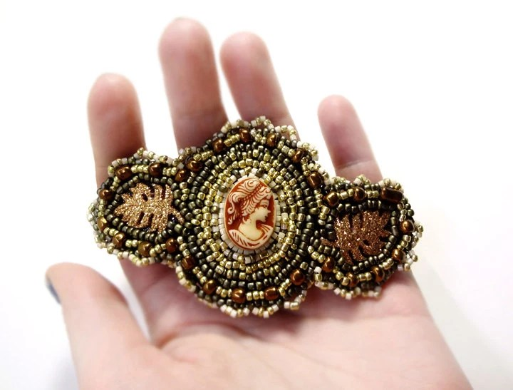 Autumn Leaves Cameo Brown and Gold Beaded Barrette Hair Accessory Clip - MegansBeadedDesigns