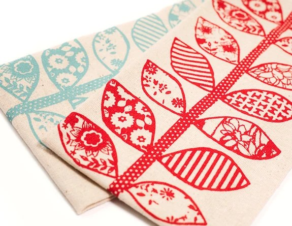 Hand Printed Cotton Tea Towels, Set of Two, Red and Aqua, Anna Joyce Textile Collection - annajoyce