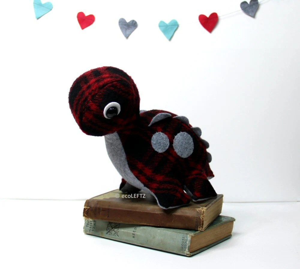 Eco Plush Brontosaurus Dinosaur in Red Plaid Wool with Charcoal Gray Accents - Handmade with Upcycled, Recycled, & Eco Friendly Materials - ecoLEFTZ