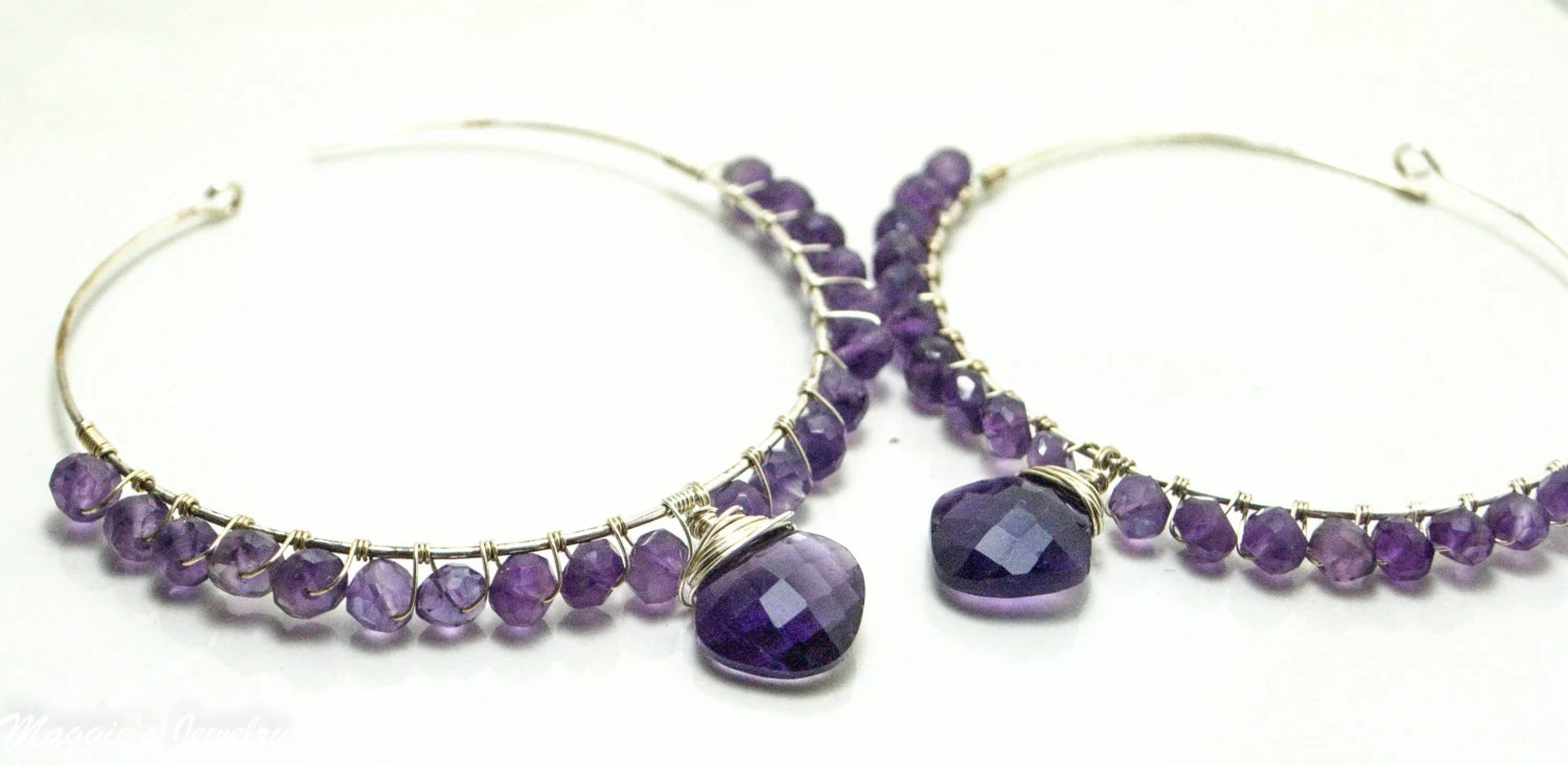 Amethyst Hoop Earrings, Sterling Silver Hoops, Big Wire Wrapped Hoops, Gemstone Chandelier Earrings, Rhapsody Purple Earrings, For Her