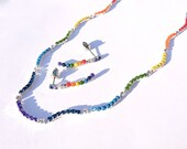 Neon Rainbow Hand Painted Rhinestone Necklace, Rainbow Necklace, Tom Binns Necklace, Rainbow Jewelry, FREE earrings - susansbeadhappy