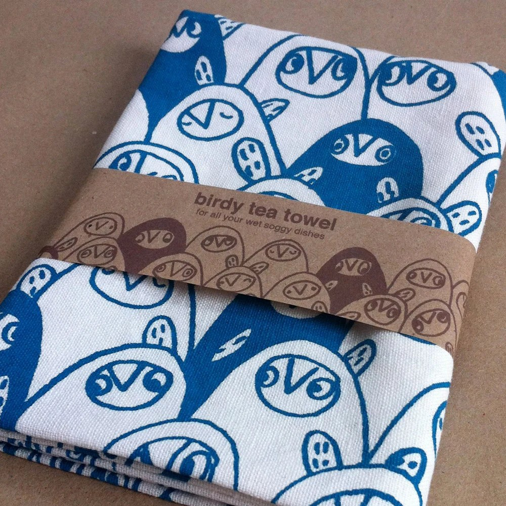 Birdy tea towel,  choose your favourite colour - wendyjune