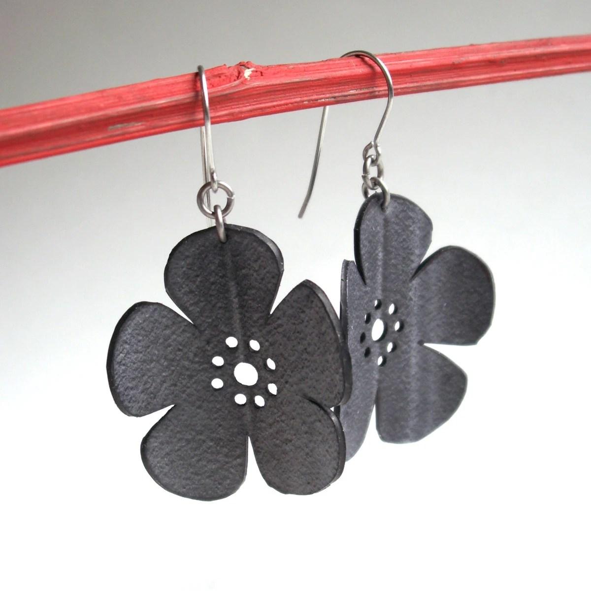 Cherry Blossom Earrings - eco friendly inner tube jewelry - black flower silhouette jewelry - Gloomstopper