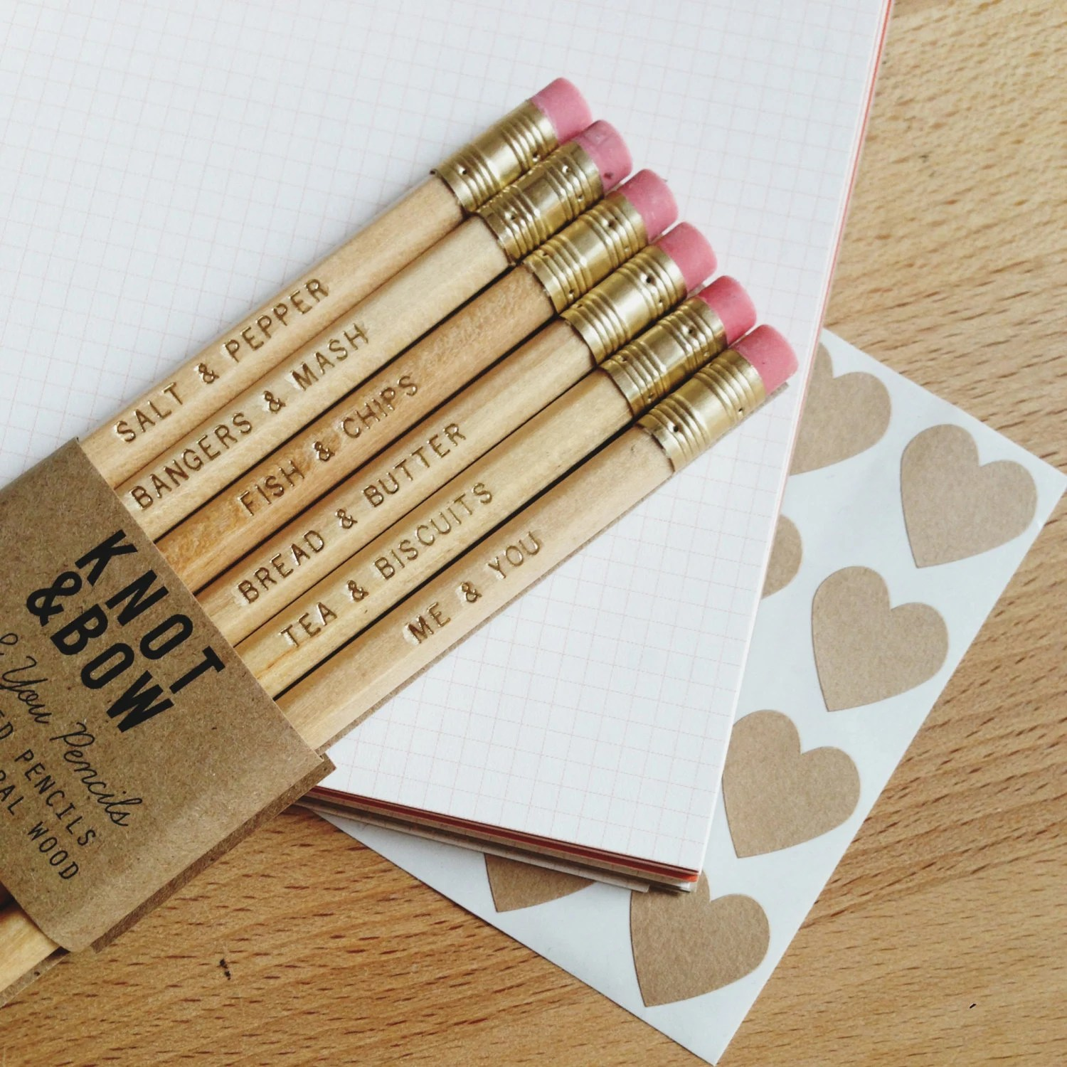 UK Version // Me & You Pencils - Gold Stamped Natural Wood