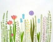 colorful garden- original watercolor - zuhalkanar