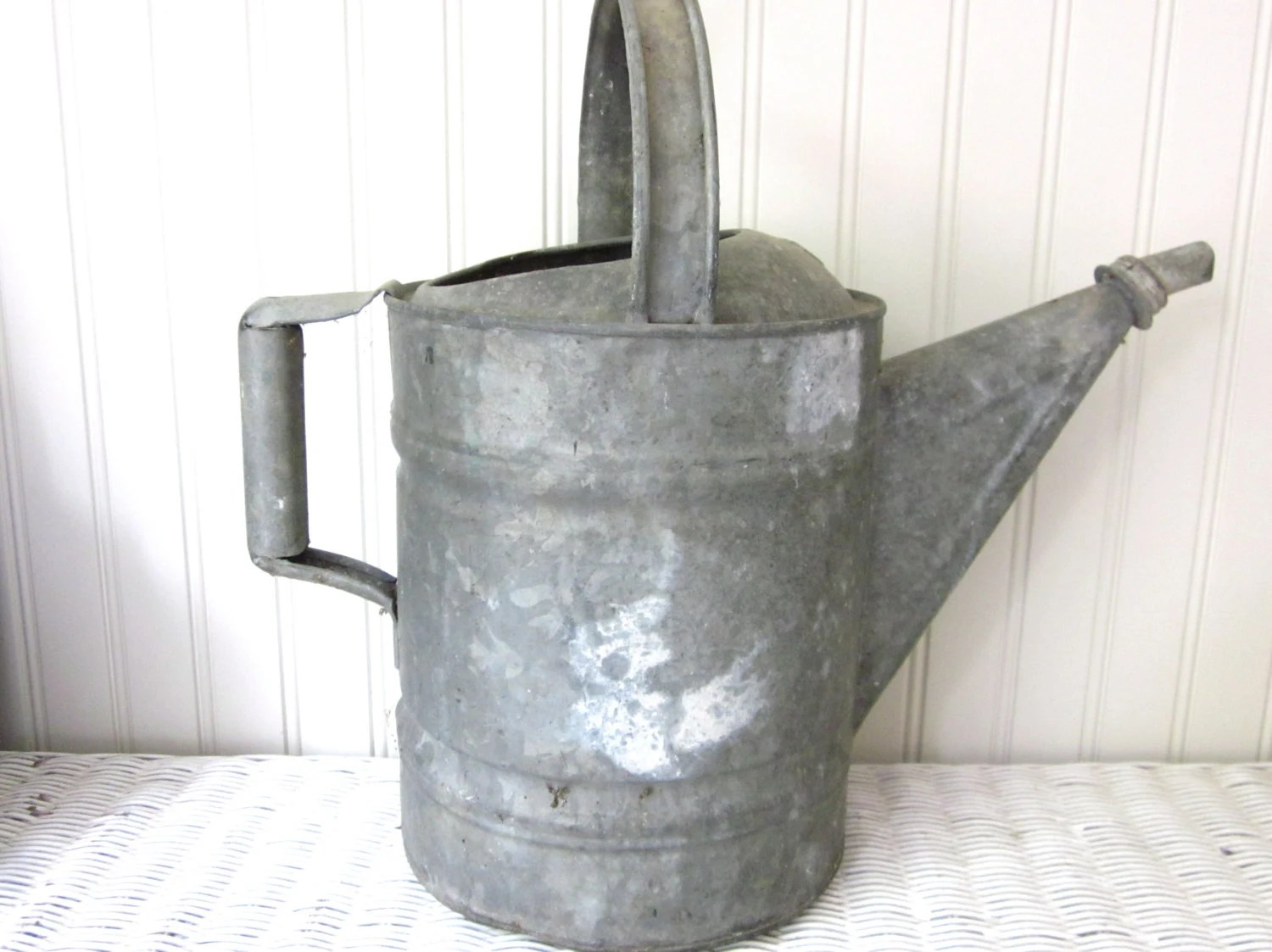 Vintage galvanized metal watering can, gardening - Stratfieldworkshop