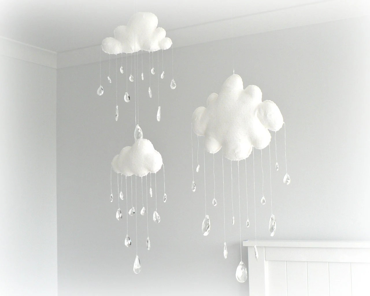 Cloud mobiles - nursery decor - White clouds - crystal raindrops - sun catcher - Sparkling prism tear drops - LullabyMobiles